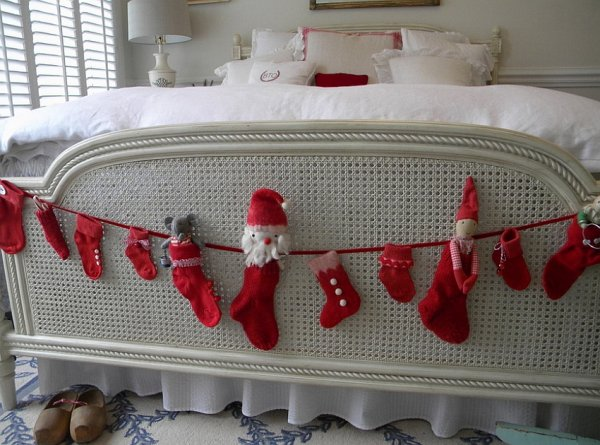 Smart way to hang stocking at the end of bed.