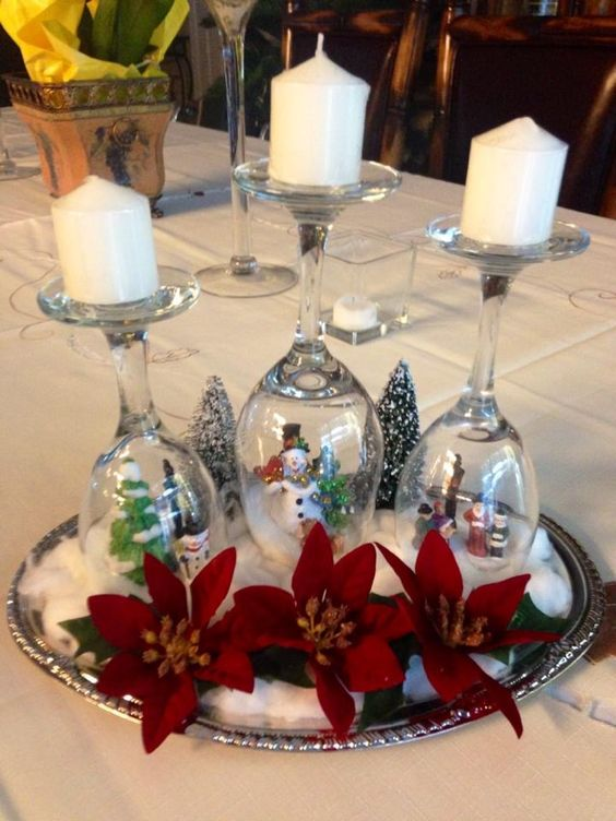 Snow globe candle holder for Christmas decoration.