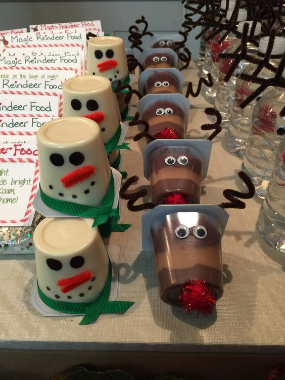 Snowman and Rudolph pudding cups for Christmas party.