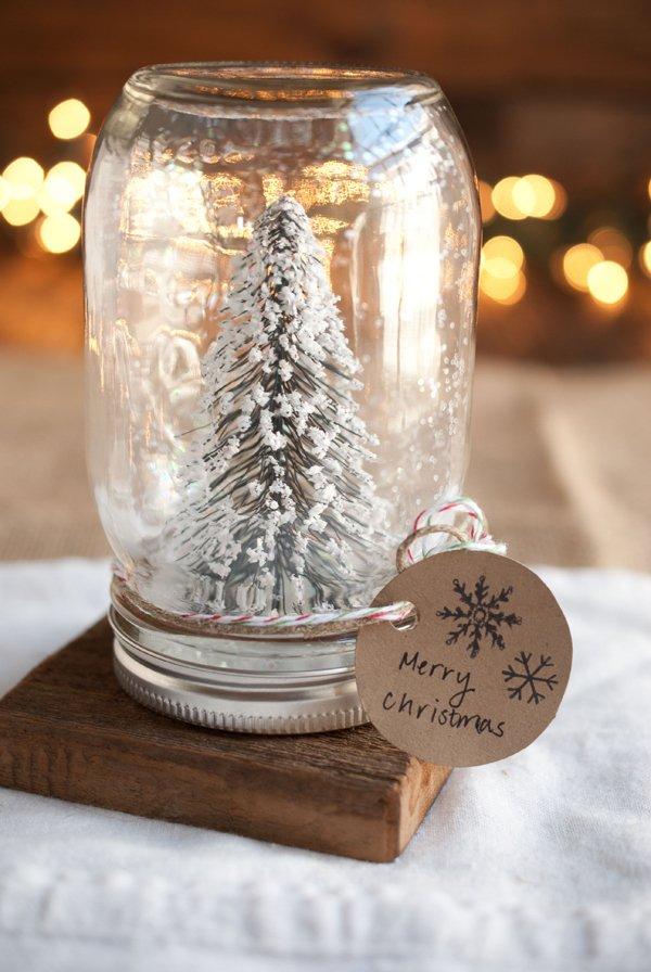 Snowy Christmas tree in mason jar.