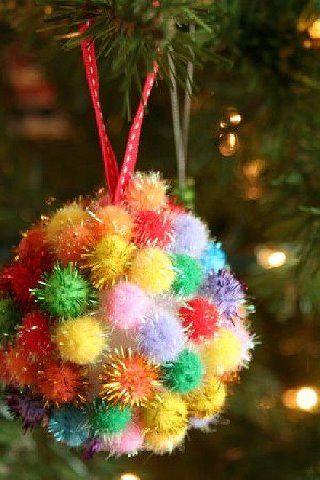 Sparky colored pom-pom ball.