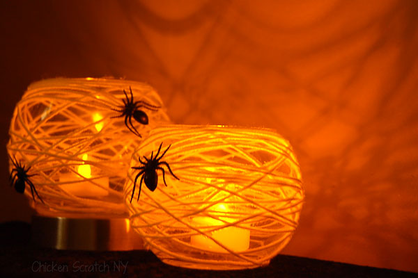 Spider web candle holder for home decor.
