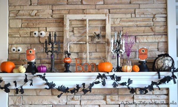 Spook mantel decor for halloween.