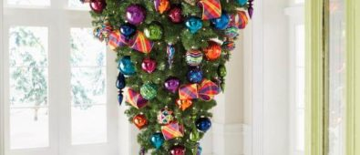 Stunning upside down Christmas tree with colorful ornaments.
