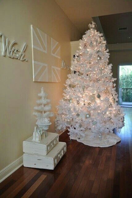 Stunning white balls studded with stones for white Christmas tree with table top tree.