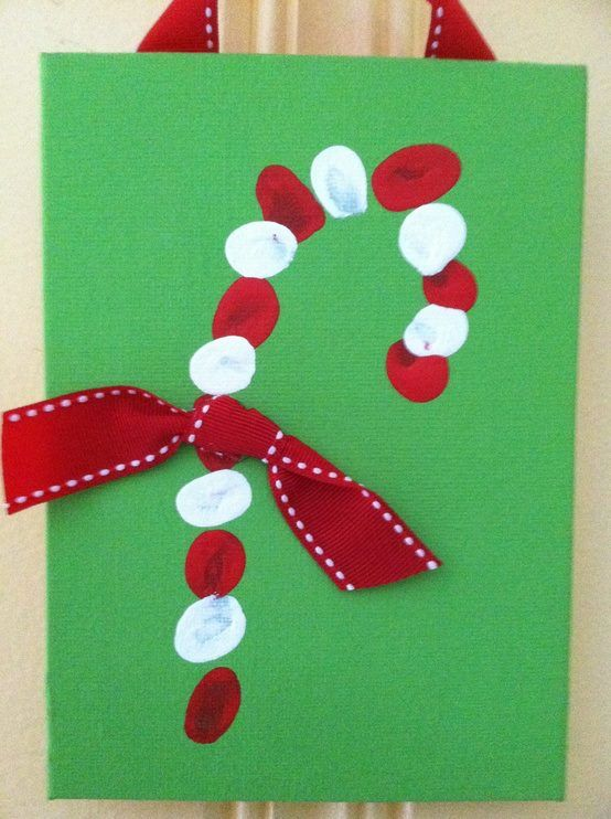 Thumb print candy cane diy Christmas card.