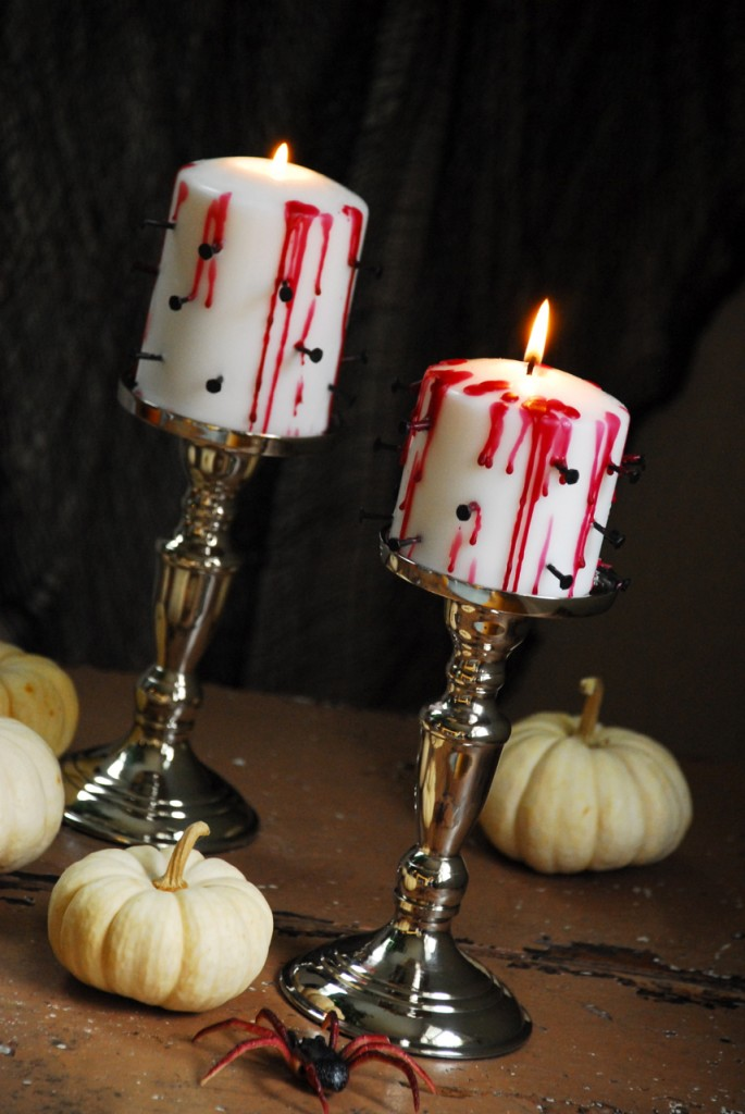 Tortured candles for table decor.