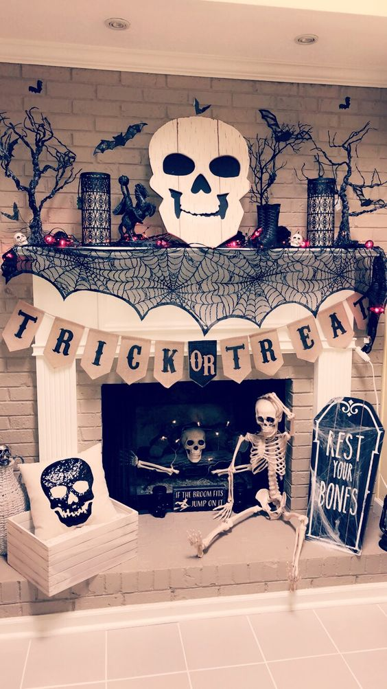 Trick or treat halloween mantel decoration.