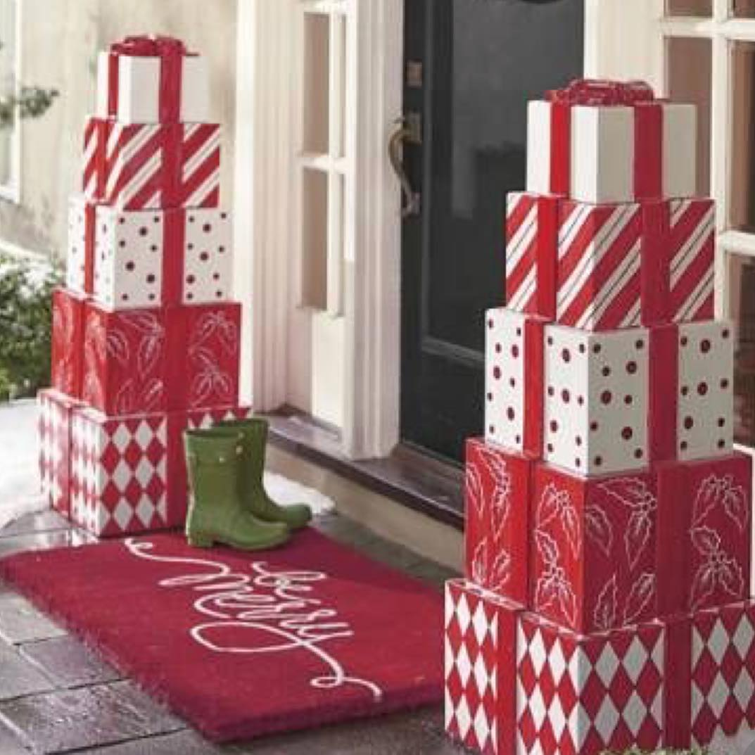 Ultimate porch decor with red and white gift.
