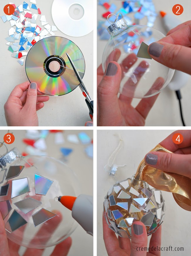 Unused CD cut into pieces and used to decorate ornament.