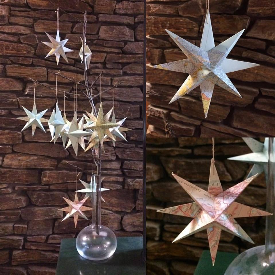 Vintage map star Christmas tree ornaments.