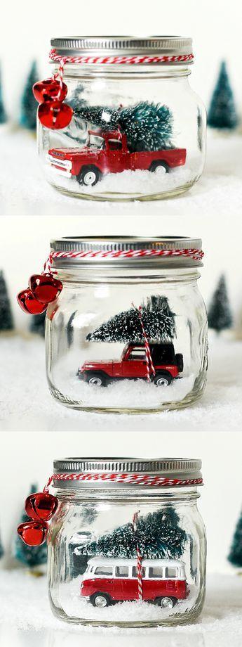 Vintage red jeep mason jar snow globe.