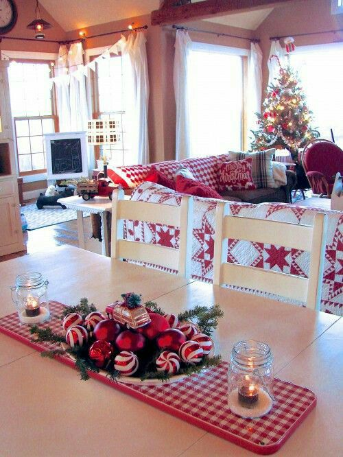 White and red home decor for Christmas party.