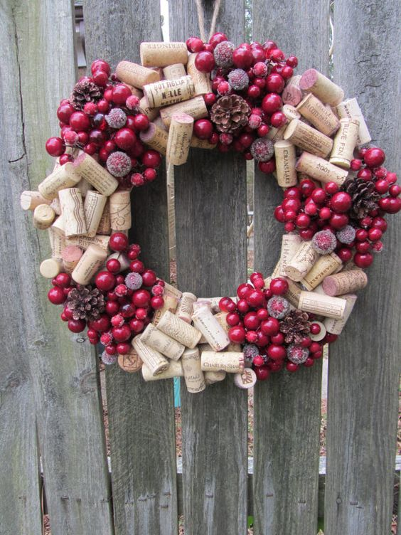 Wine cork DIY wreath with colored ornaments.