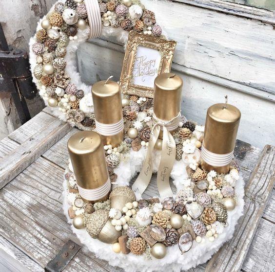 Wonderful Golden and White Christmas Candle Basket Decoration.