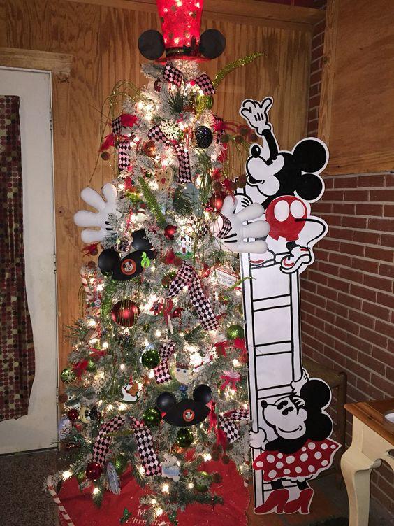 Wonderful mickey and minnie mouse Christmas tree decor.