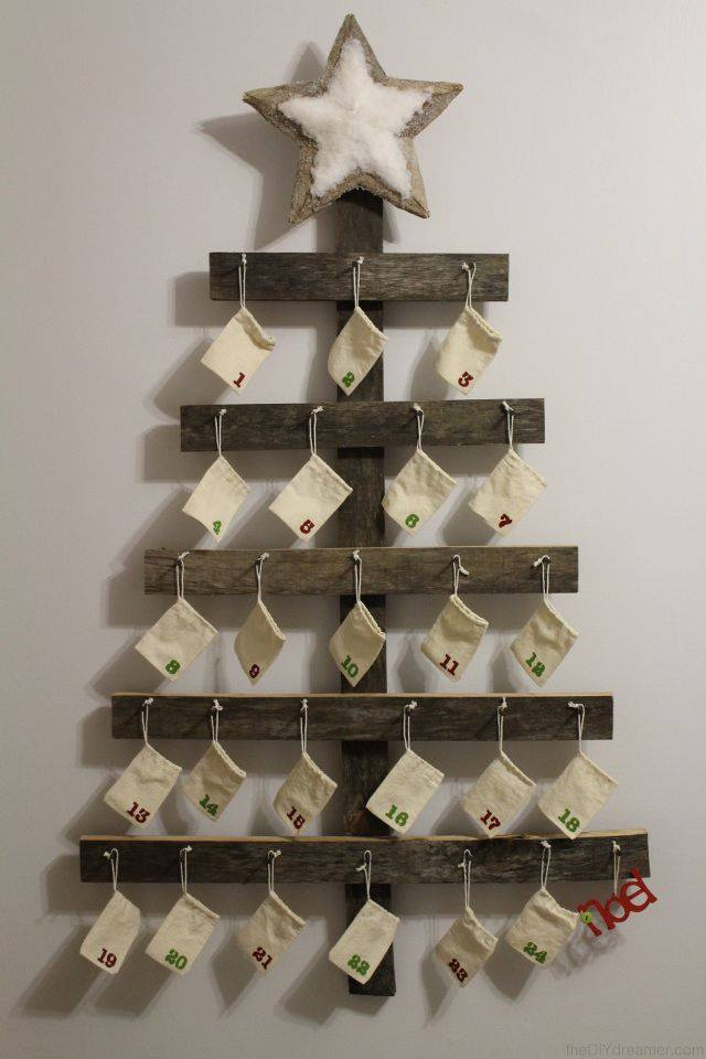 Wonderful wall mounted wooden advent calendar.