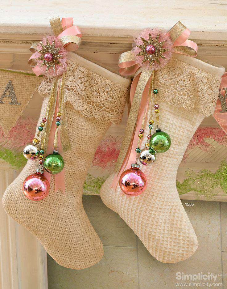 Adorable pink Christmas stockings.