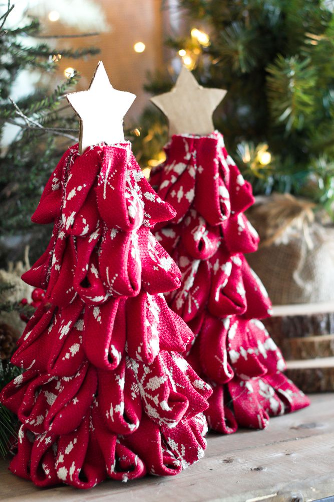 Adorable small diy sweater Christmas tree with star ornament.