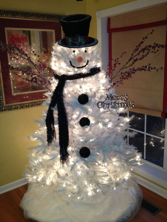 Adorable white Christmas tree decorated as snowman.