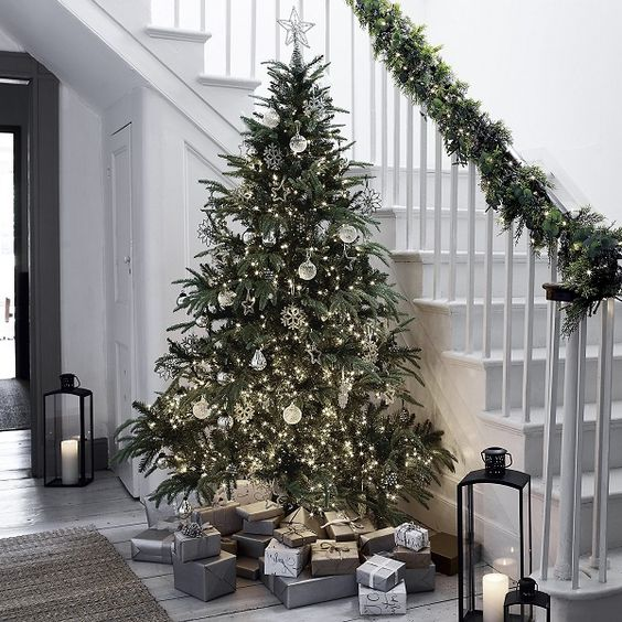 Amazing Christmas tree and stair decorations.