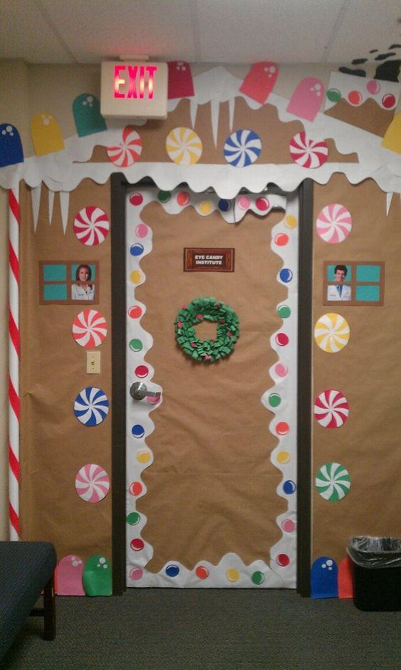 Amazing idea to decorate door as gingerbread.