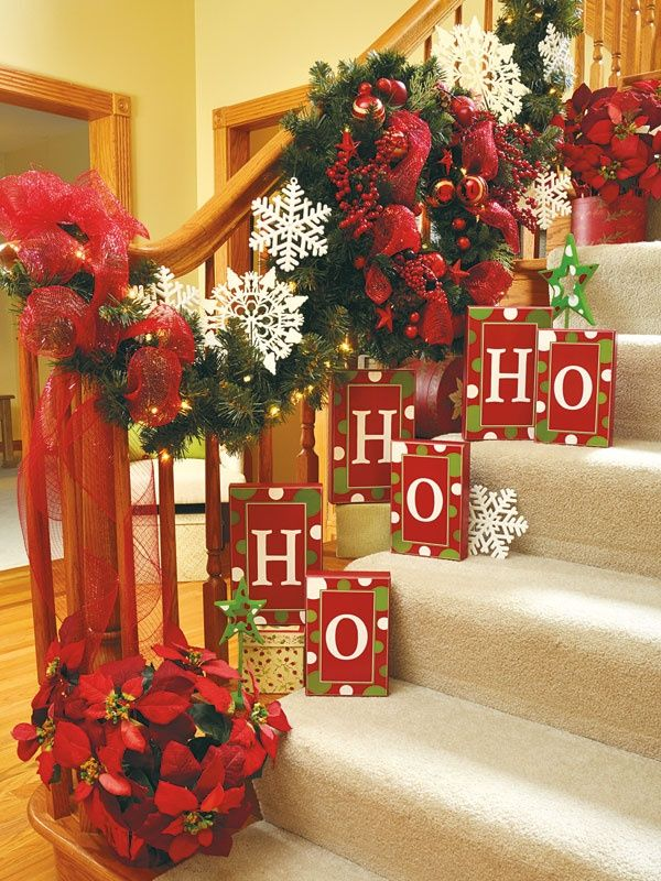 Amazingly decorated staircase with HO HO HO.