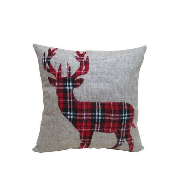 Awesome burlap plaid deer pillow.