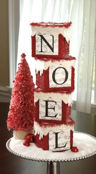 Awesome noel block with brush tree.
