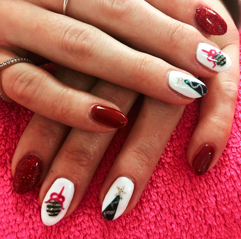 Balloons and tree on red and white nails.