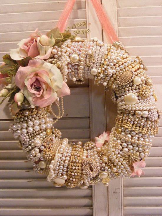 Beaded wreath for Christmas decoration.