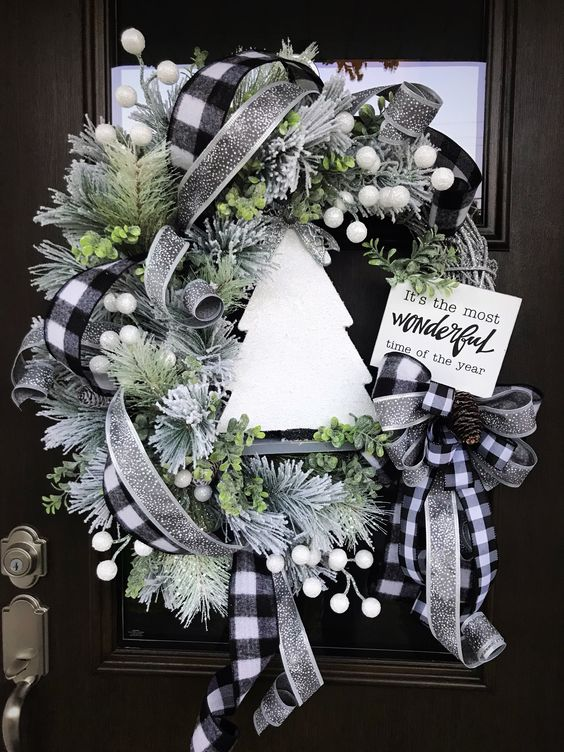 Black And White Plaid Wreath For Front Door