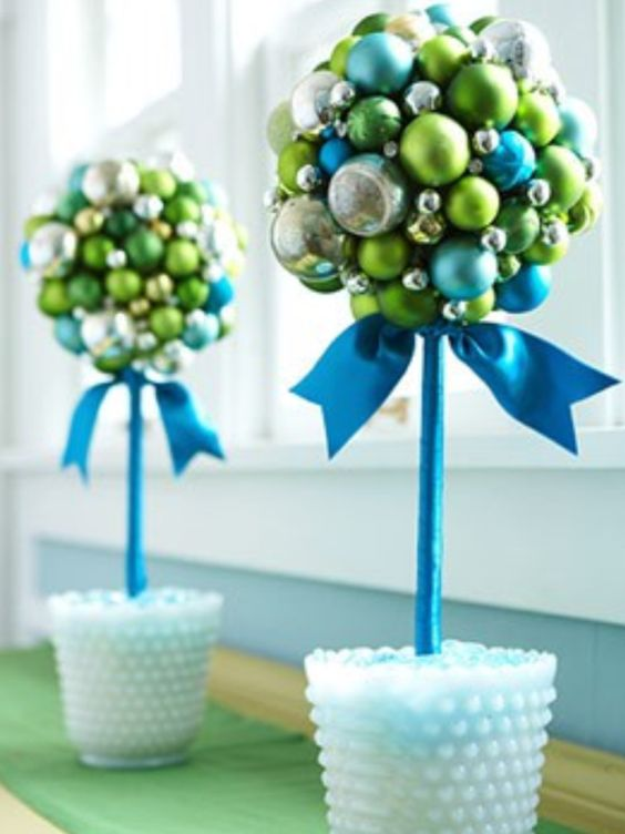Blue and silver ornaments topiary.
