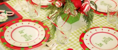 Candy inspired red & green centerpiece.