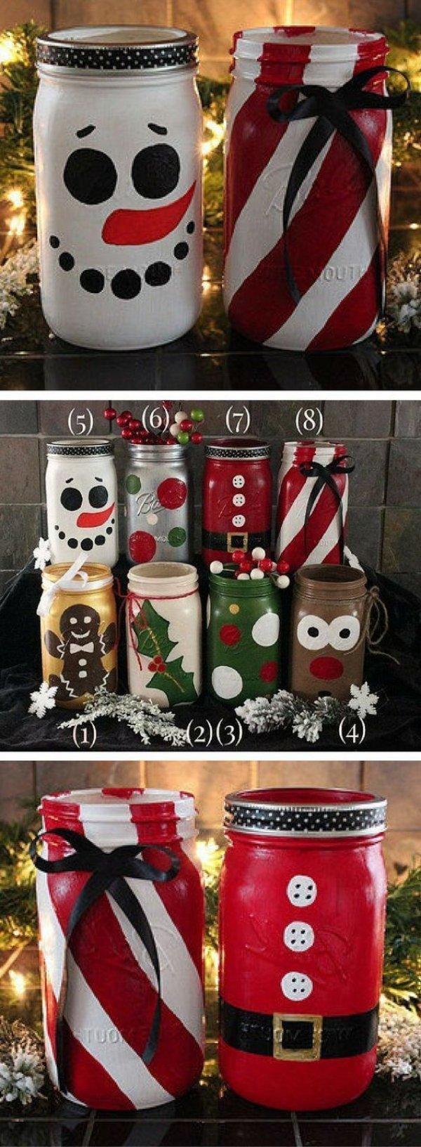 Chic snowman mason jar craft for Christmas.
