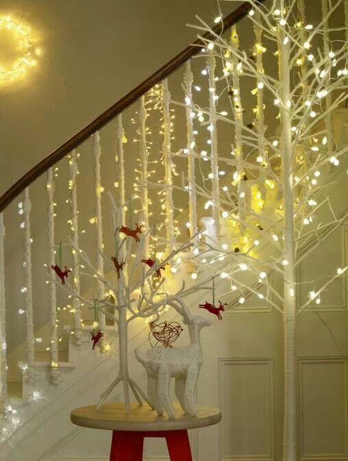 Christmas fairy light wrapped around each stair railing.
