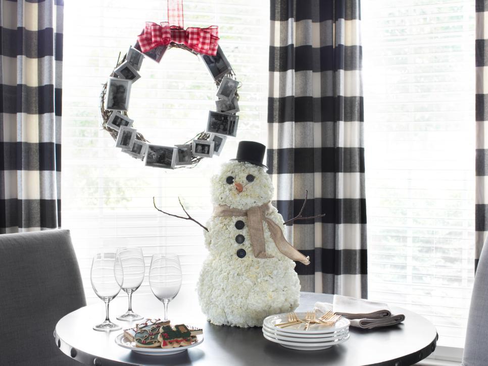 Coffee filetr snowman and photo wreath.