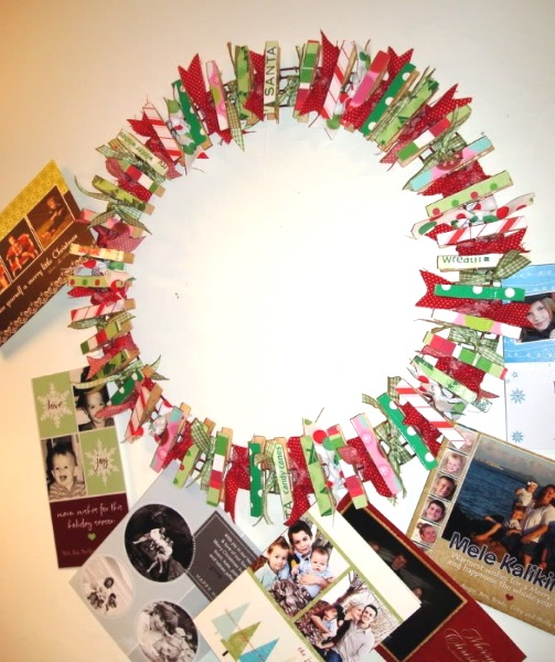 Colorful clothespin wreath for Christmas.