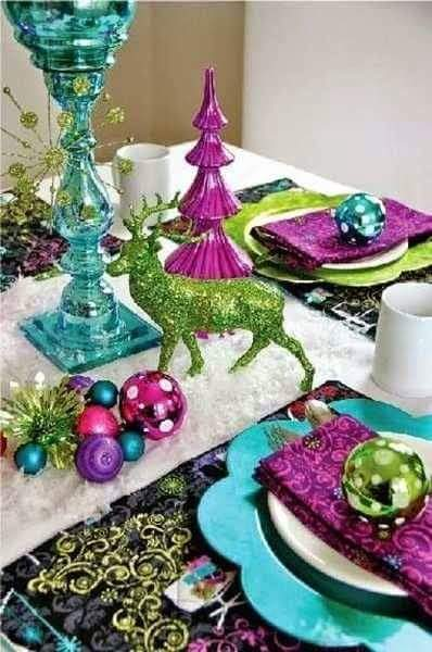 Colorful ornaments with table top Christmas tree.