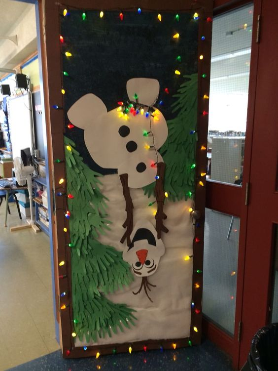 Cool Olaf holiday classroom door decoration idea.
