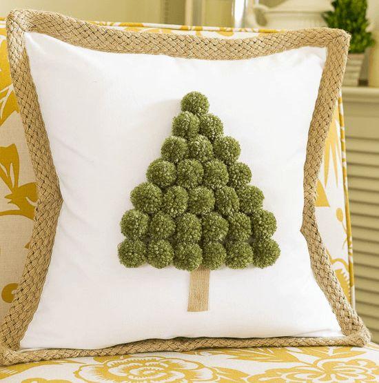 Cool pom pom Christmas tree pillow cover.