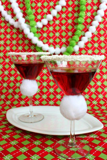 Cool santa hat martini of pomegranate.