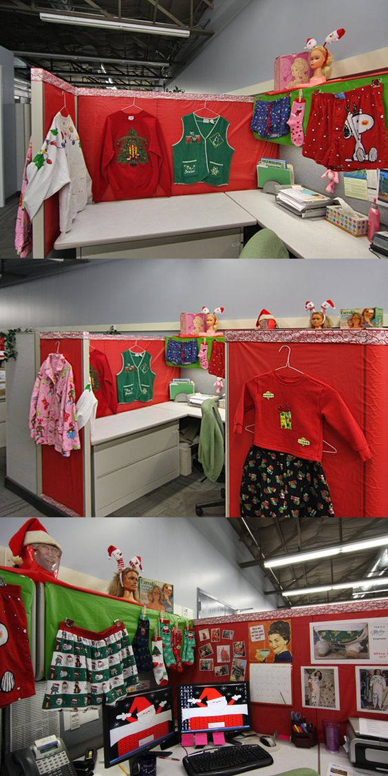 Cute office cubicle decoration idea.