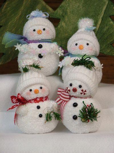 Cute pom-pom snowman Christmas tree ornaments.