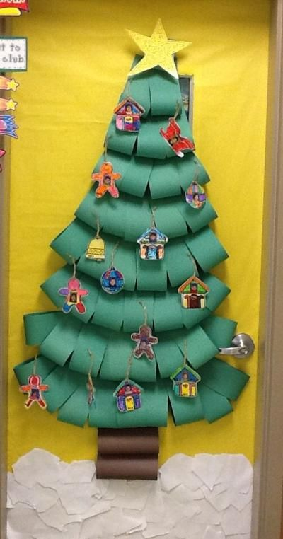 DIY paper Christmas tree at classroom door.