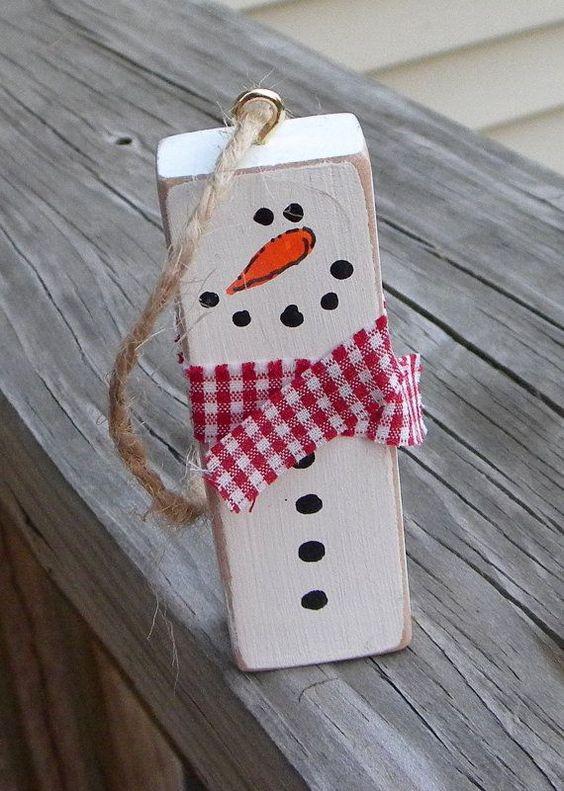 DIY snowman wooden Christmas tree ornament.