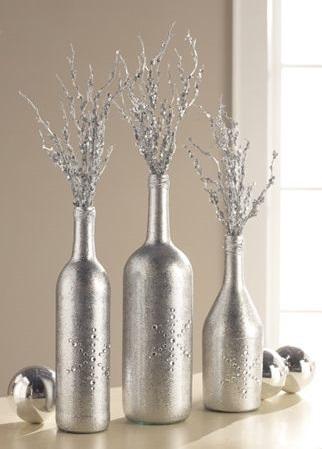 DIY wine bottle glitzy silver centerpiece.