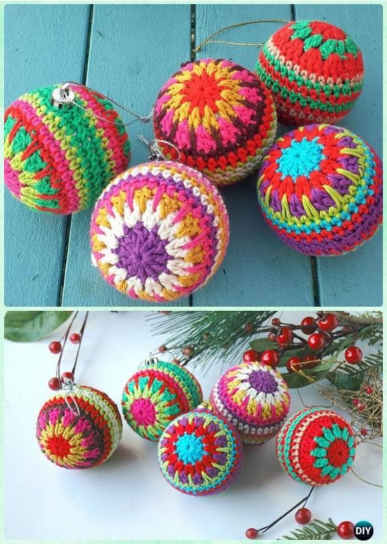Dashing colorful crochet bauble ornament.