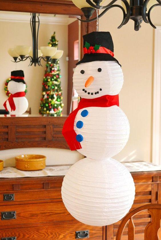 Dashing paper lantern snowman craft for indoor Christmas decoration.
