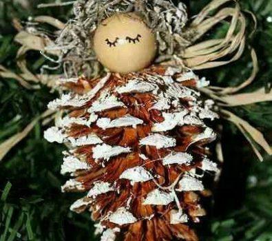 Dashing pinecone angel ornament for Christmas.